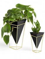 Кашпи тип ваза UMBRA TRIGG черен/златен, 2бр.
