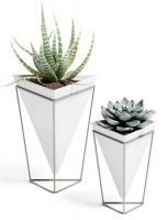 Кашпи тип ваза UMBRA TRIGG, бял/хром 2бр.